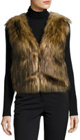 Neiman Marcus Faux-Fur Collarless Cropped Vest
