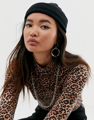 Asos Design DESIGN mini fisherman rib beanie hat in recycled polyester in black