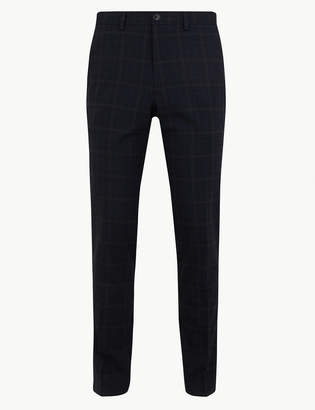 Marks and Spencer Skinny Fit Checked Stretch Trousers