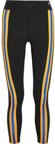 P.E Nation Double Innings Striped Stretch-jersey Leggings