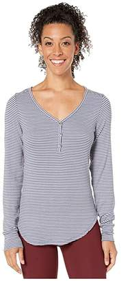 Toad&Co Daisy Rib Henley (Flint Stone Stripe) Women's Clothing