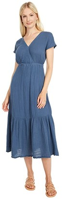 Michael Stars Illana Surplice Midi Dress (Lake) Women's Clothing