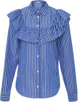 RED Valentino Ruffle-Trimmed Striped Blouse