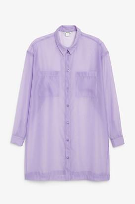 Monki Sheer longline shirt