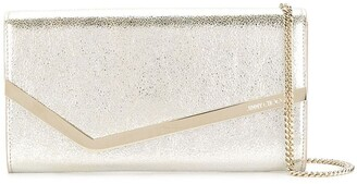 Jimmy Choo champagne Emmie leather clutch bag