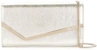 Jimmy Choo champagne Emmie leather clutch bag