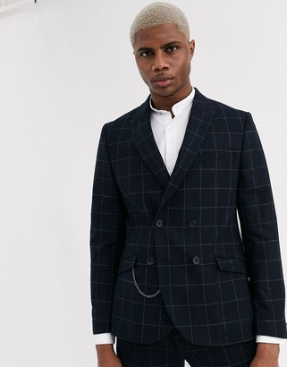 Shelby & Sons slim double breasted suit jacket with chain in black windowpane check