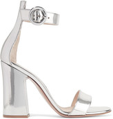 Gianvito Rossi Portofino Metallic Leather Sandals - Silver