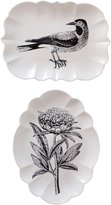 Creative Co-op Set of Two Stoneware Plates with Bird Flower Images