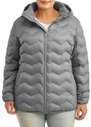 Time and Tru Women's Plus Size Puffer Coat with Hood