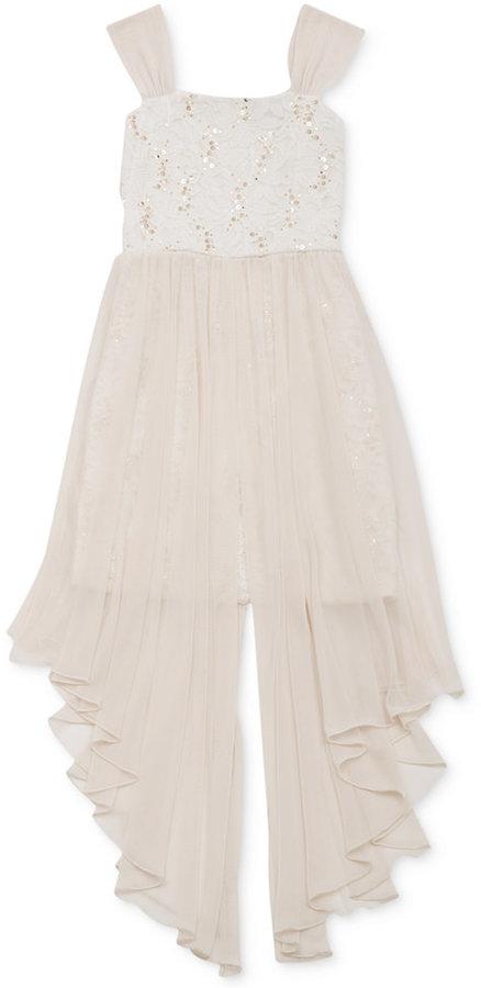 Rare Editions Girls' Sequin & Lace Chiffon Dress