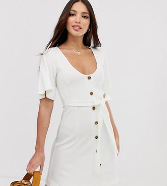 Asos Tall DESIGN Tall mini button through textured tea dress-White