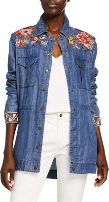 Johnny Was Kirpa Drawstring Waist Embroidered Denim Military Jacket
