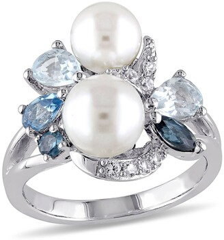 Delmar Sterling Silver 6.5-8mm White Freshwater Pearl, Created White Sapphire & Mixed Blue Gemstone Ring