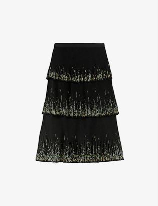 Ted Baker Carsena floral-print tiered crepe midi skirt