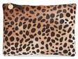 Clare Vivier Genuine Calf Hair Leopard Print Zip Clutch - Beige