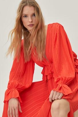 Nasty Gal Womens Frill in Love V-Neck Maxi Dress - Orange