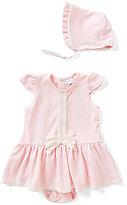 Edgehill Collection Baby Girls Newborn-6 Months Clara Bella Lace-Trim Dress & Ruffled Bonnet Set