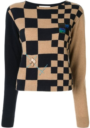 Onefifteen Embroidered Checkered Jumper