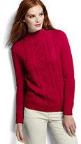 Classic Women's Drifter Cable Mock Neck Sweater-Fresh Tangerine