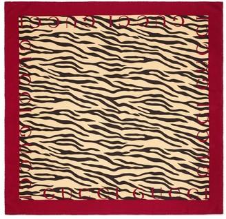 Gucci Zebra Print Silk Bordered Scarf