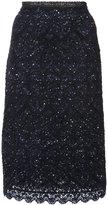 Oscar de la Renta embroidered skirt - women - Silk/Polyester/Wool - S