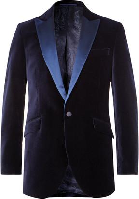 Favourbrook Dark-Green Slim-Fit Faille-Trimmed Cotton-Velvet Tuxedo Jacket