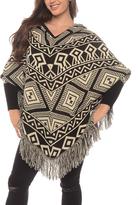 Black Geometric Fringe Hood Wool-Blend Poncho - Plus Too