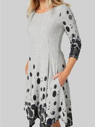 M&Co Izabel polka dot hanky hem dress with pockets