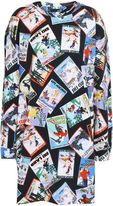 Love Moschino Printed Cotton-blend Fleece Mini Dress