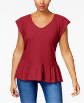 Style&Co. Style & Co V-Neck Cotton Jacquard Peplum Top, Created for Macy's
