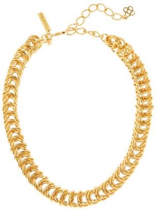 Oscar de la Renta Tubular Braided Goldtone Necklace