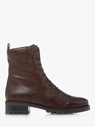 Dune Prestone Leather Cleated Sole Lace-Up Hiker Boots, Brown