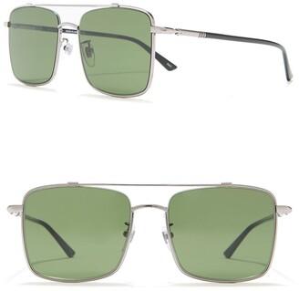Gucci 56mm Square Aviator Sunglasses