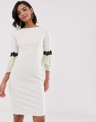 Paper Dolls colour block contrast lace trim midi dress-White