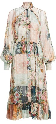 Zimmermann Wavelength Floral Patchwork Silk Midi Shirtdress
