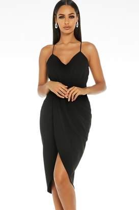 Quiz Black Ruched Midi Dress