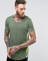 Lee Shaped Hem T-Shirt Hillside Green Melange