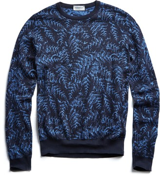 John Smedley Sweaters John Smedley Sea Island Cotton Jacquard Leaf Sweater in Navy