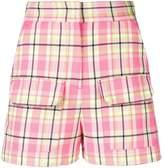 MSGM plaid high-waisted shorts
