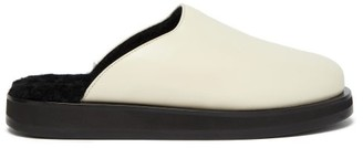 The Row Sabot Backless Shearling-lined Leather Loafers - Womens - Ivory