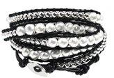 Beautiful Silver Jewelry Thalia Elegant Beaded Black Leather Wrap 39 Inch Bracelet 5x Wrap in Gift Box