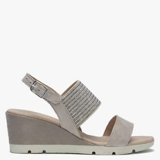 Luparense Lovell Taupe Suede Jewelled Sling Back Wedge Sandals
