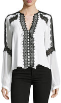 Nanette Lepore Long-Sleeve Silk Lace-Trim Blouse, White/Black