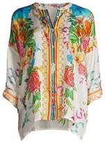 Thumbnail for your product : Johnny Was Sabrina Floral Silk Tunic Blouse