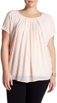Bobeau Short Sleeve Pleated Blouse (Plus Size)
