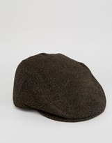Asos Flat Cap In Brown Herringbone