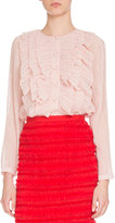 Givenchy Long-Sleeve Ruffled Georgette Blouse, Light Pink