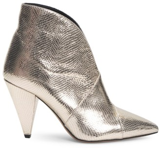 Isabel Marant Archenn Snakeskin-Embossed Metallic Leather Ankle Boots