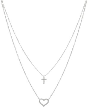"Unwritten Gratitude & Grace Cubic Zirconia Heart and Cross Layered Pendant Necklace in Fine Silver-Plate, 16"" + 2"" extender"
